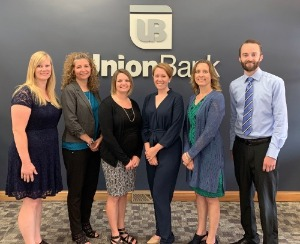 Image Description.  Union Bank announces six employee promotions.  Pictured from left to right are: Stephanie Brummette, Sandra Collison, Stephanie Joseph, Lindsay Farrell, Christine Fortier, and Derek Dickinson.